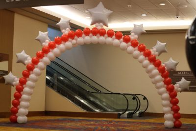Supersize red and white balloon arch
