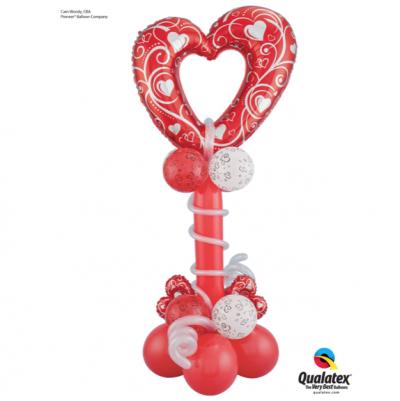 Red Filigree Heart Mini Column