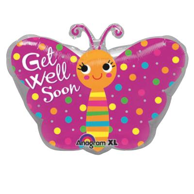 Pink Butterfly Balloon Feel Better Soon
