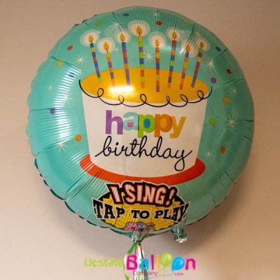 Teal Singing balloon with Birthday Cake